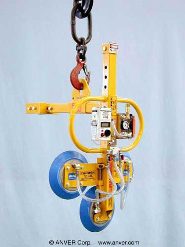 ANVER Three Pad Vertical Vacuum Lifting Beam with AL101 Vacuum Generator for Lifting TV Sets