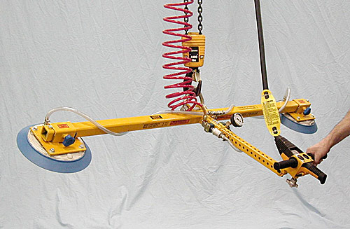 ANVER Two Pad Vacuum Lifting Beam with Gravity Tilt for Remote Vacuum Generators