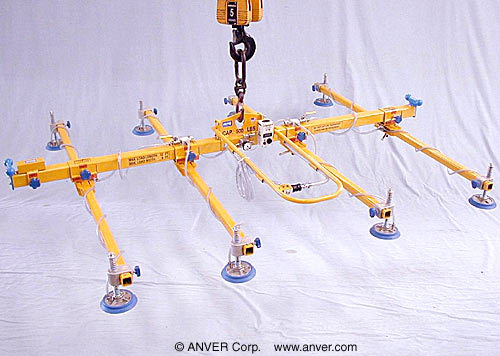 ANVER Eight Pad Lifting Frame for use with Remote Vacuum Generator for Lifting Aluminum Sheets 12 ft x 8 ft (3.7 m x 2.4 m) up to 500 lb (227 kg)