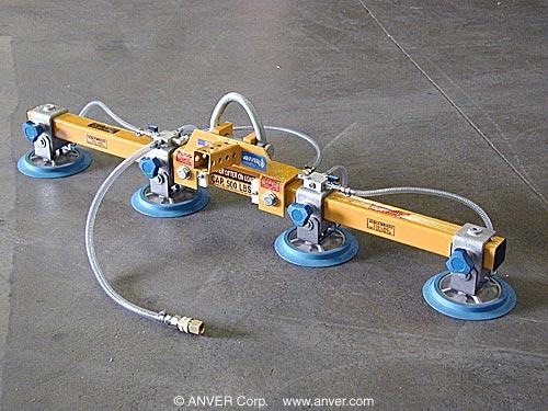 Four Pad Inline Vacuum Lifting Beam for Remote Vacuum Generators