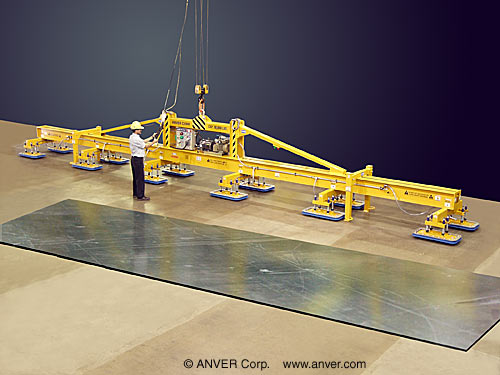 ANVER Twelve Pad Electric Powered Vacuum Lifter for Lifting & Handling Steel Plate, 48 ft x 8 ft (14.6 m x 2.4 m) up to 30,000 lb (13,608 kg)
