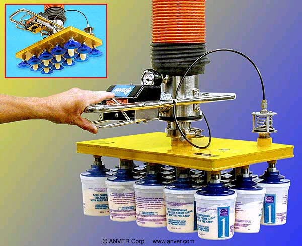 ANVER Vacuum Tube Lifter with Fifteen Vinyl Vacuum Suction Cups and Extended Length Control Handle for Lifting Cosmetic Product Containers Fifteen at a Time