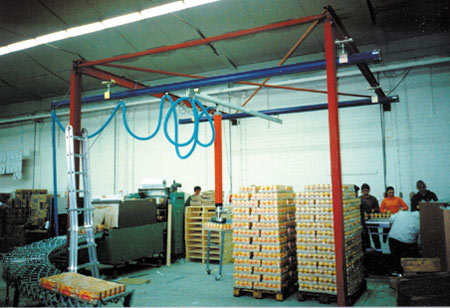 Standard VT Vacuum Tube Lift System: Typical System Setup with Overhead Crane