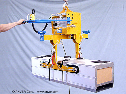 ANVER Six Pad Custom Side Gripping Lifting Frame with Electric Powered Generator for Lifting & Handling Metal Enclosures 2 ft (0.6 m) wide up to 600 lb (272 kg)