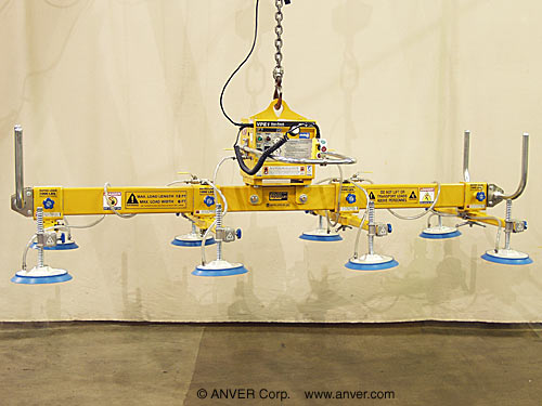 ANVER Eight Pad Electric Powered Lifter with Fork Truck Adapters for Lifting & Handling Stainless Steel Sheets 12 ft x 6 ft (3.7 m x 1.8 m) up to 4000 lb (1814 kg)