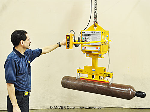ANVER One Pad Electric Powered Vacuum Lifter with Oval Cups for  Cylindrical Loads 1' to 2'; Diameter (.3m x .6m) x 4' to 12'; Long (1.2m x 3.7m), weighing up to 200 lbs (91kg)