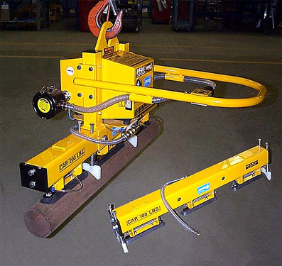ANVER Electric Powered Vacuum Lifter with Interchangeable Pipe Lifting Attachmentsfor Lifting Steel Tubes, 2.5 in. (63 mm) to 5.5 in. (140 mm) Dia. x 36 in. (914 mm) Long weighing either 100 lb (45 kg) or 200 lb (91 kg)