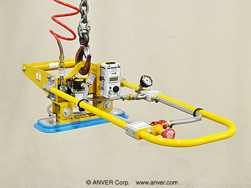 Air Powered Vacuum Generator / Lift Frame with Single Pad Attachment and Counter Balance for Lifting & Handling Smooth, Non-Porous Loads up to 550 lbs (250 kg)