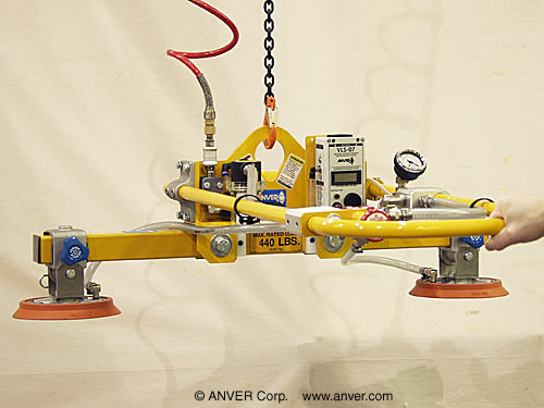 ANVER Light Duty Air Powered Generator with Dual Pad Attachment for Lifting & Handling Glass Sheets up to 440 lbs (200 kg)