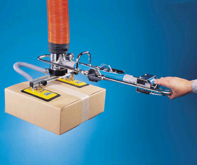 ANVER VT100 Vacuum Tube Lifting System with Extended Handle and Two Pad Box Lifting Attachment for Effortless Ergonomic Handling of Packages and Boxes