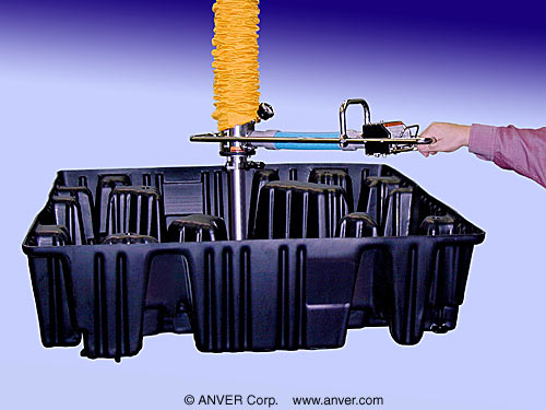 ANVER Vacuum Tube Lifter with Single Bag Lifting Attachment and Quick Release Extension for Lifting & Handling Plastic Pallet Containers up to 65 lb (29 kg)