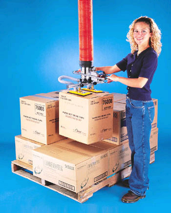 ANVER VT120 Vacuum Tube Lifter with Box Lifting Pad Attachment for Ergonomic Package Handling and Load Palletizing