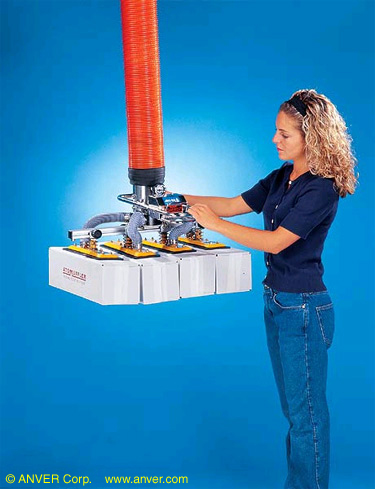 ANVER Vacuum Tube Lifting System with Four Pad Box Lifting Attachment for Ergonomic Effortless Handling of Boxes and Packages