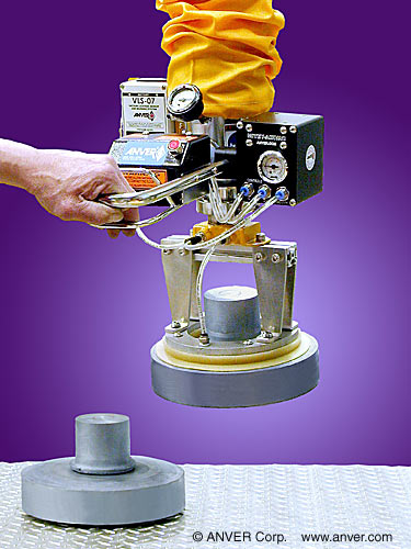 ANVER Vacuum Tube Lifter with Compressed Air Option and Custom Urethane Pad Attachment for Lifting & Handling Metal Castings up to 30 lb (13.6 kg)