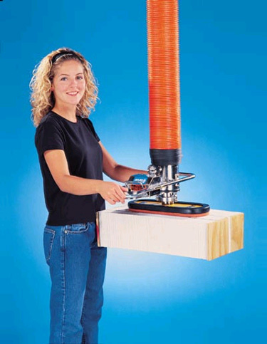 ANVER VT140 Vacuum Tube Lifting System with Foam Pad Attachment for Effortless Ergonomic Handling of Semi-Porous Loads