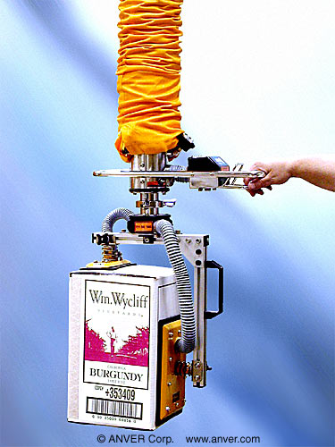 ANVER Vacuum Tube Lifter with Custom Side Gripping Dual Pad Attachment for Lifting & Handling Wine Boxes up to 140 lb (63 kg)