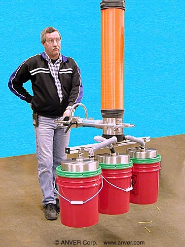 ANVER Vacuum Tube Lifter with Three Pad Pail Lifting Attachment