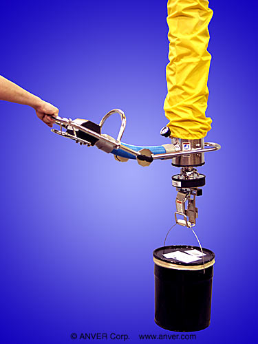 Vacuum Tube Lifting System with Hook Foot Assembly for Lifting and Handling Pails up to 225 lbs (102 kg)