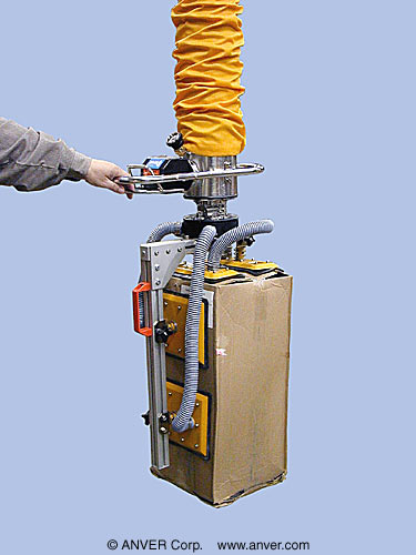 "ANVER Vacuum Tube Lifter with Custom Four Pad Side-Gripping Attachment for Lifting & Handling Cartons 12"" x 12"" x 25 "" (305 mm x 305 mm x 635 mm) up to 170 lb (77 kg)"