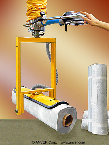 ANVER Vacuum Tube Lifter with Custom Curved Pad Attachment with Manual Upender for Lifting & Handling Plastic Rolls up to 115 lb (52 kg)