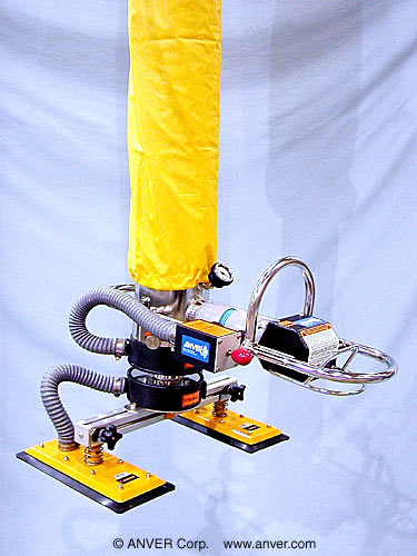 ANVER Vacuum Tube Lifter with Dual Pad Attachment and Release Assist Valve