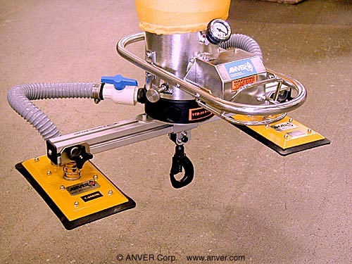 ANVER VT Series Vacuum Tube Lifting System with Two-Pad Vacuum Attachemnt with Retractable Pail Lifting Hook