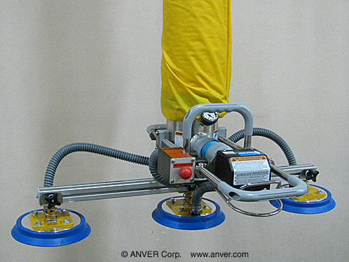 ANVER Vacuum Tube Lifter with Custom Dual Bag Head Pad Attachment