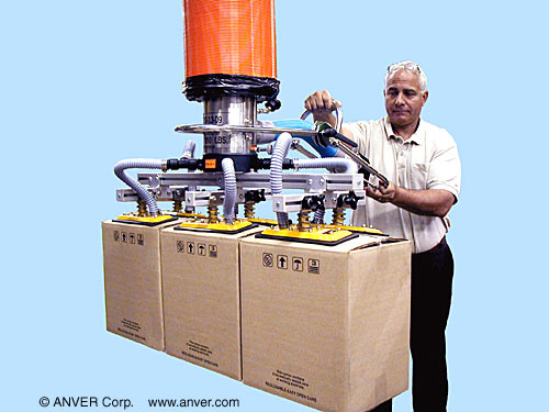 ANVER Vacuum Tube Lifter with Six Pad Attachment for Lifting & Handling Bundles of Boxes up to 350 lb (159 kg)