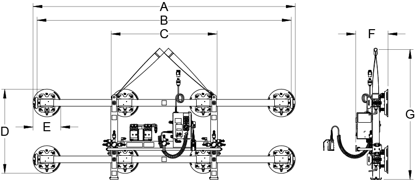 vertical vacuum lifters and lifting frames for upright loads